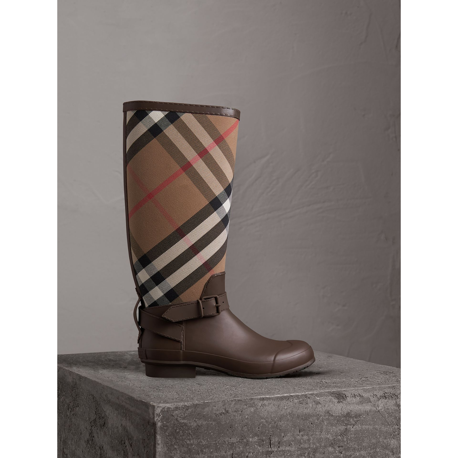 Belt Detail House Check and Rubber Rain Boots in Bitter Chocolate - Men | Burberry - gallery image 1
