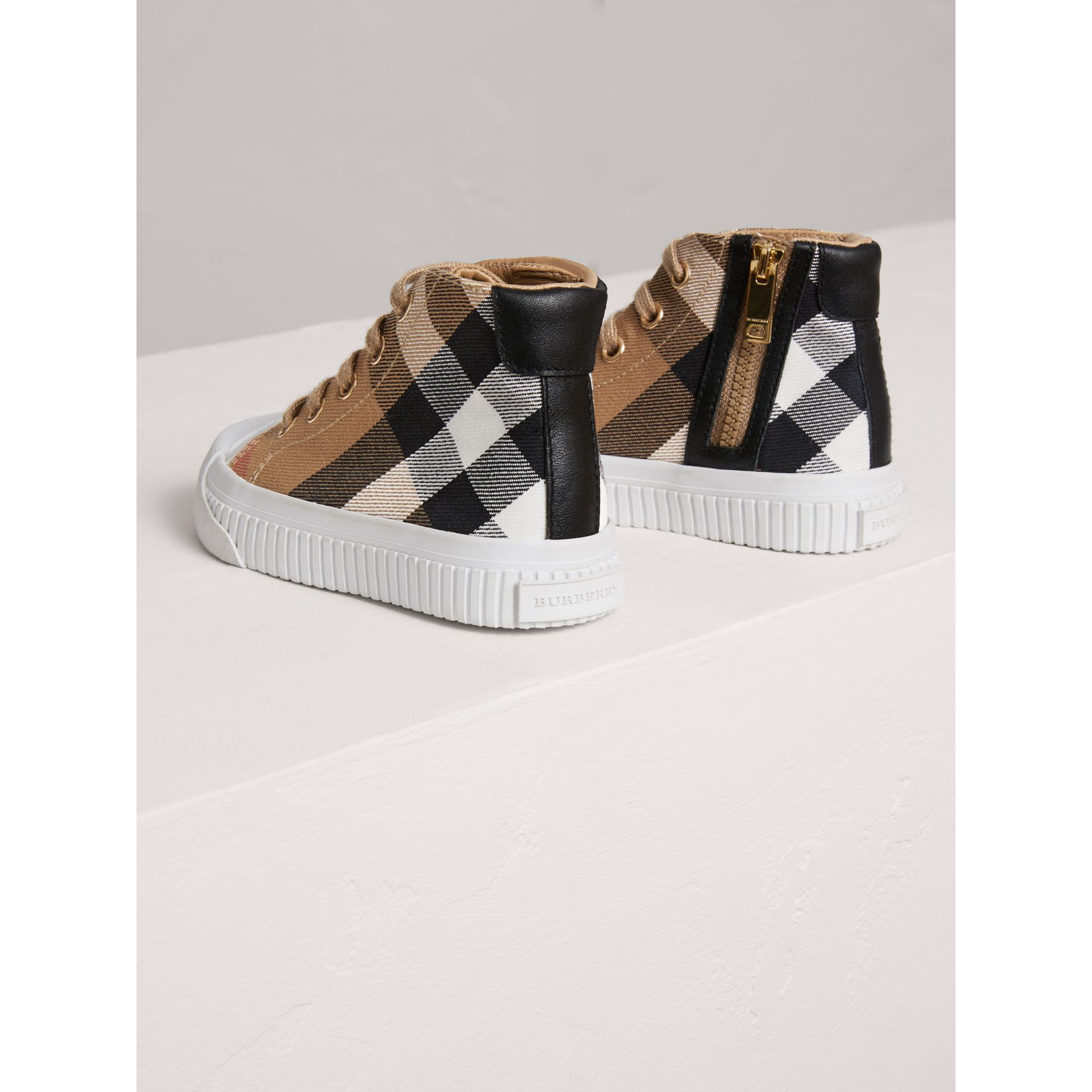 House Check and Leather High-top Trainers in Classic/optic White | Burberry - gallery image 2