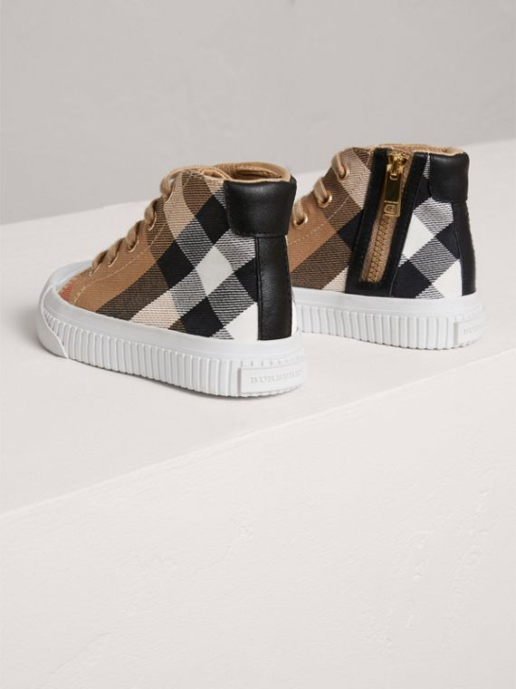 House Check and Leather High-top Trainers in Classic/optic White | Burberry - cell image 2