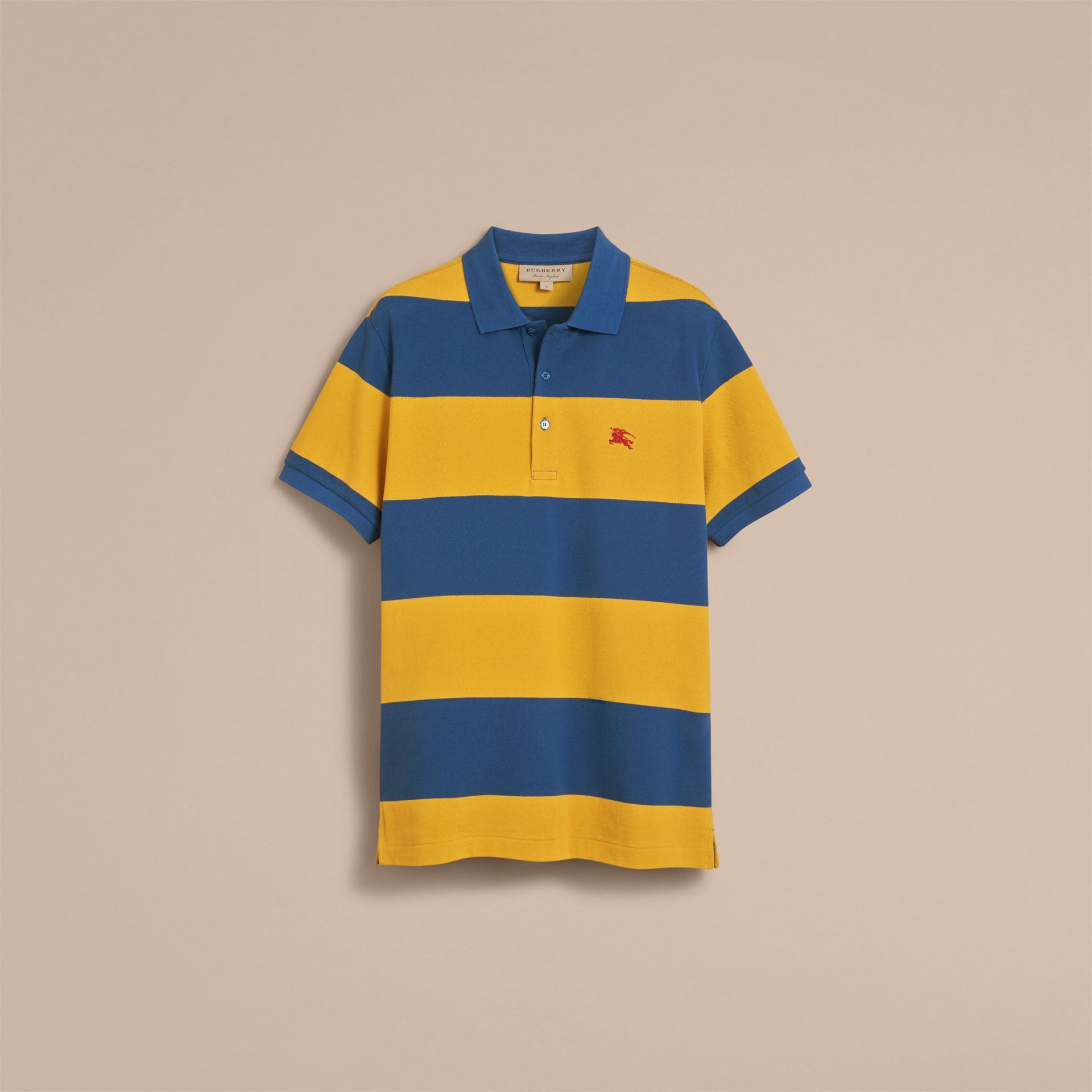 Striped Cotton Piqué Polo Shirt in Ochre Yellow/bright Navy - Men | Burberry - gallery image 4