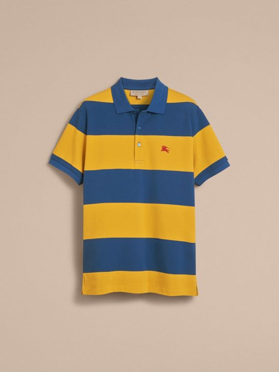 Striped Cotton Piqué Polo Shirt in Ochre Yellow/bright Navy - Men | Burberry - cell image 3