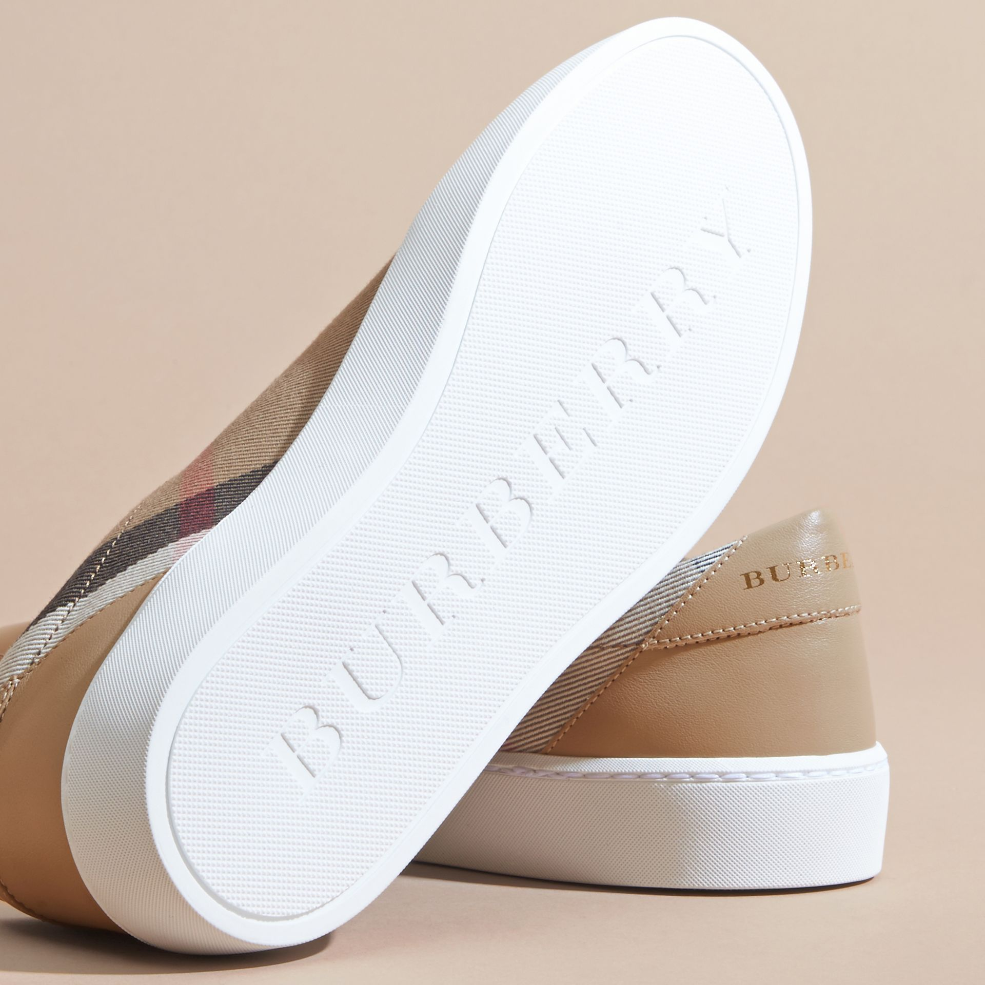 Check Detail Leather Trainers in House Check/ Nude - Women | Burberry - gallery image 5