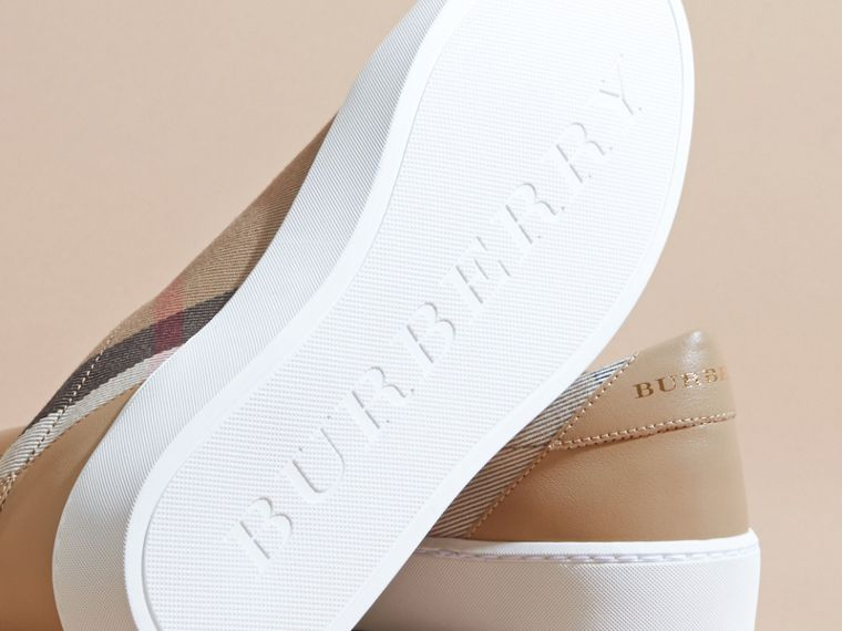 Check Detail Leather Trainers in House Check/ Nude - Women | Burberry - cell image 4