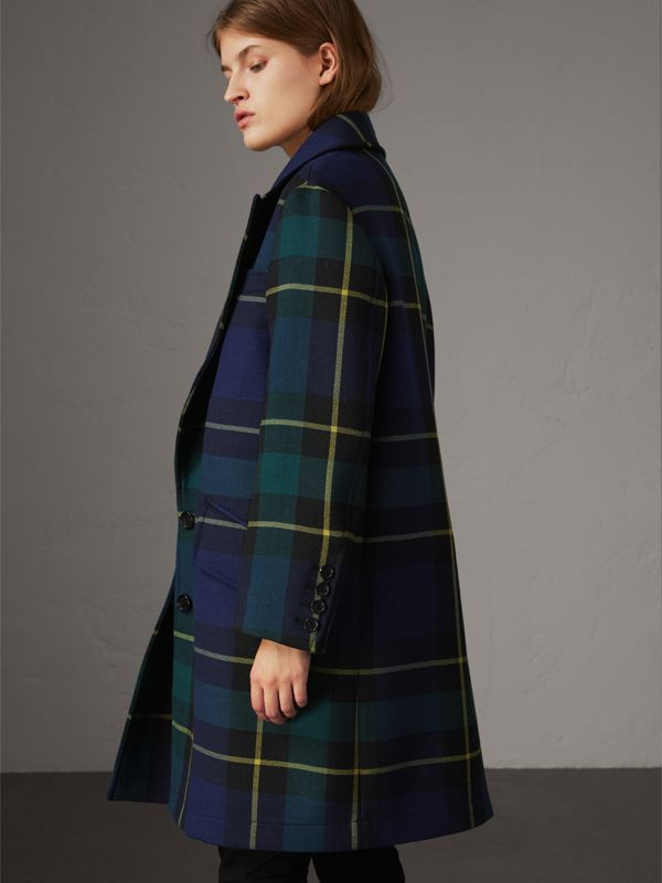 Lightweight Tartan Wool Tailored Coat in Pine Green | Burberry - cell image 2
