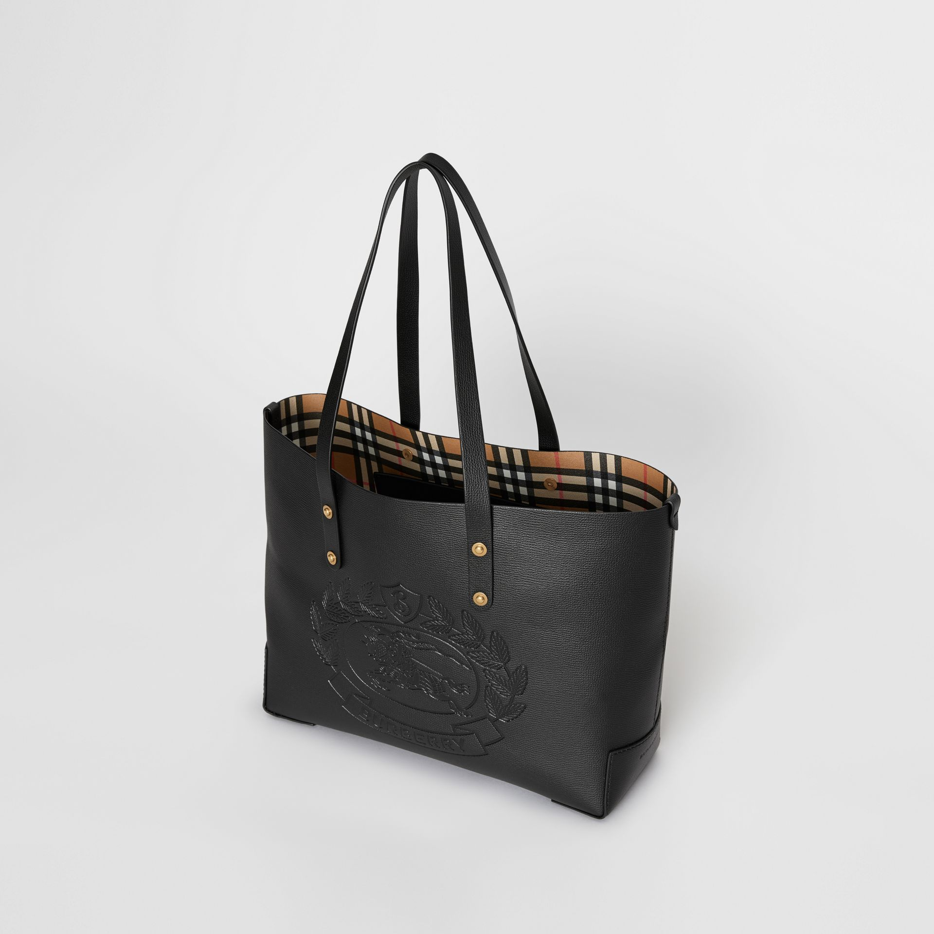 Small Embossed Crest Leather Tote in Black | Burberry - gallery image 4