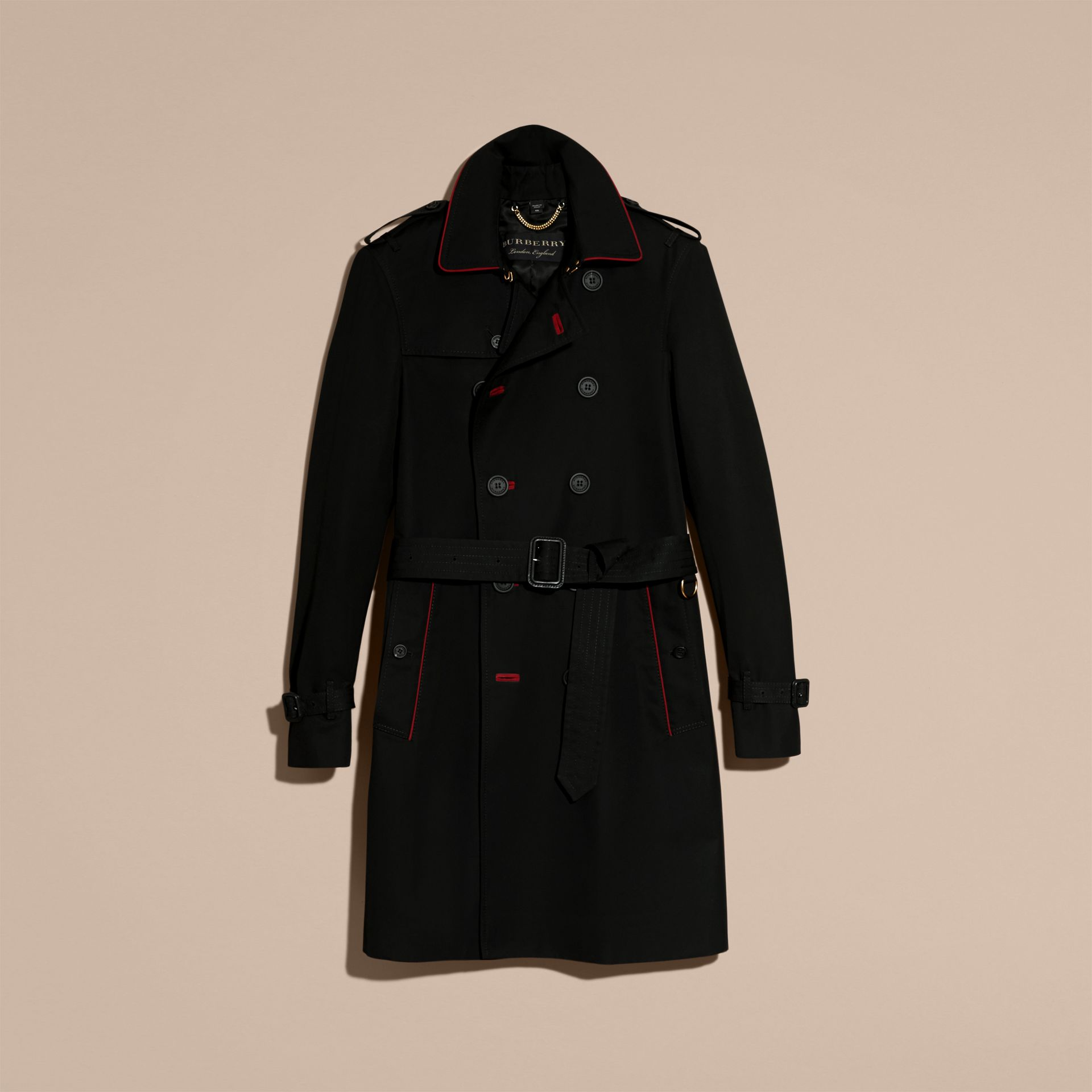 Black Military Detail Cotton Trench Coat - gallery image 4