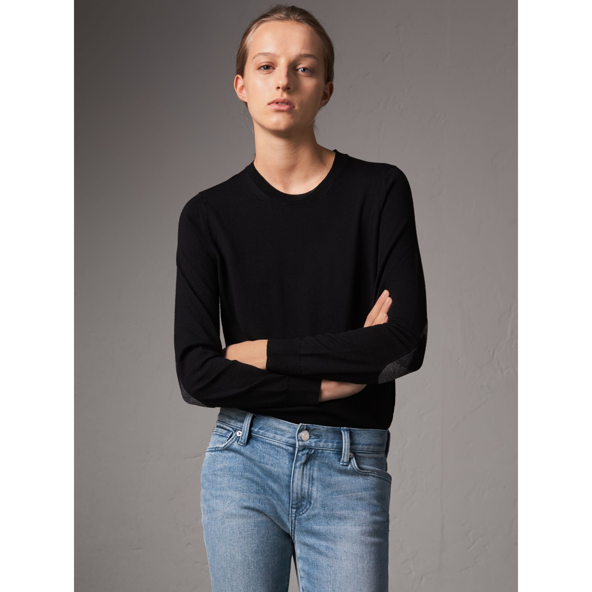 Check Detail Merino Wool Crew Neck Sweater in Black - Women | Burberry - gallery image 1