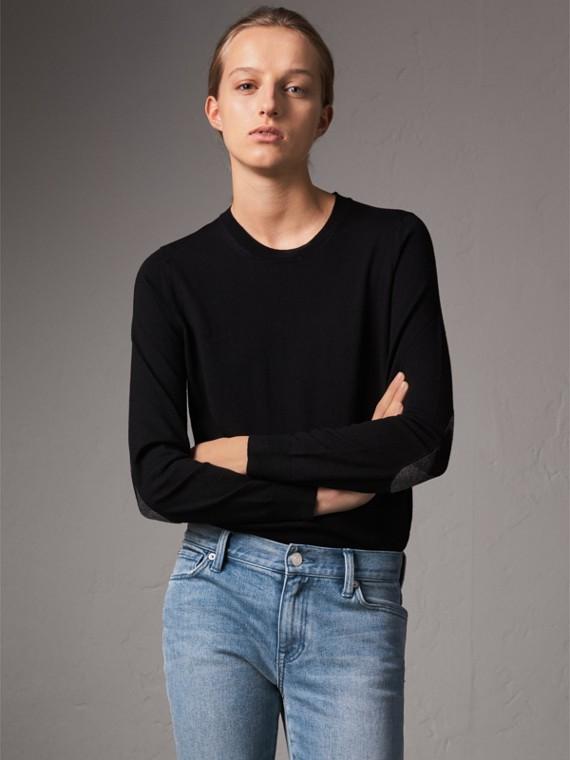 格紋細節設計美麗諾羊毛圓領套頭衫 (黑色)