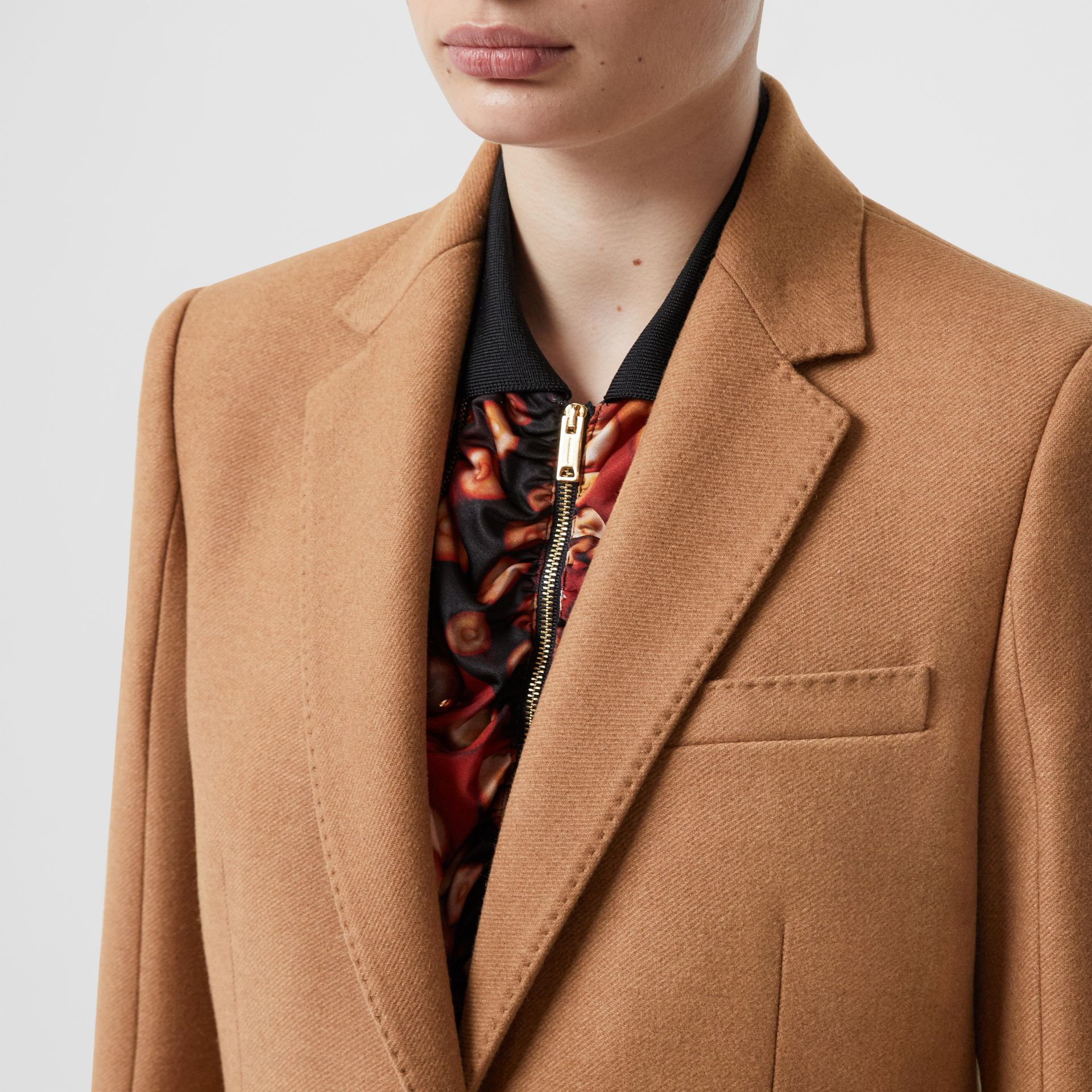 Camel Hair Tailored Coat with Detachable Gilet in Bronze - Women | Burberry - gallery image 1