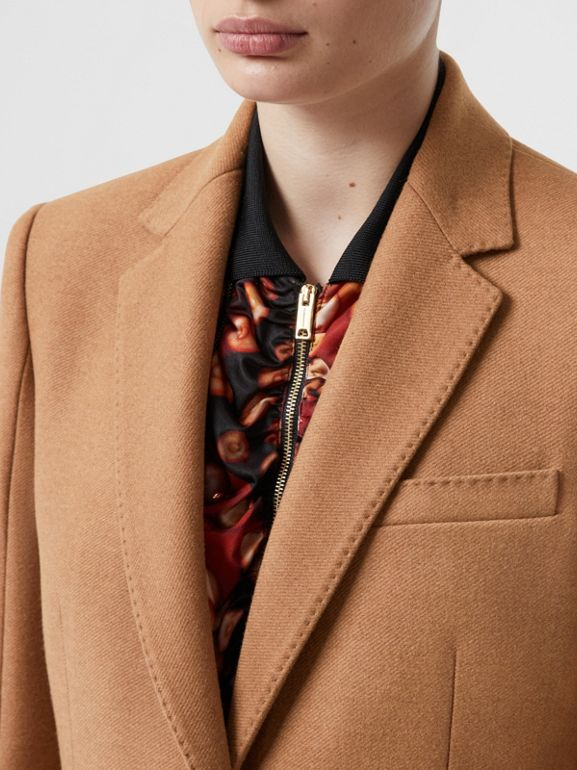 Camel Hair Tailored Coat with Detachable Gilet in Bronze - Women | Burberry - cell image 1
