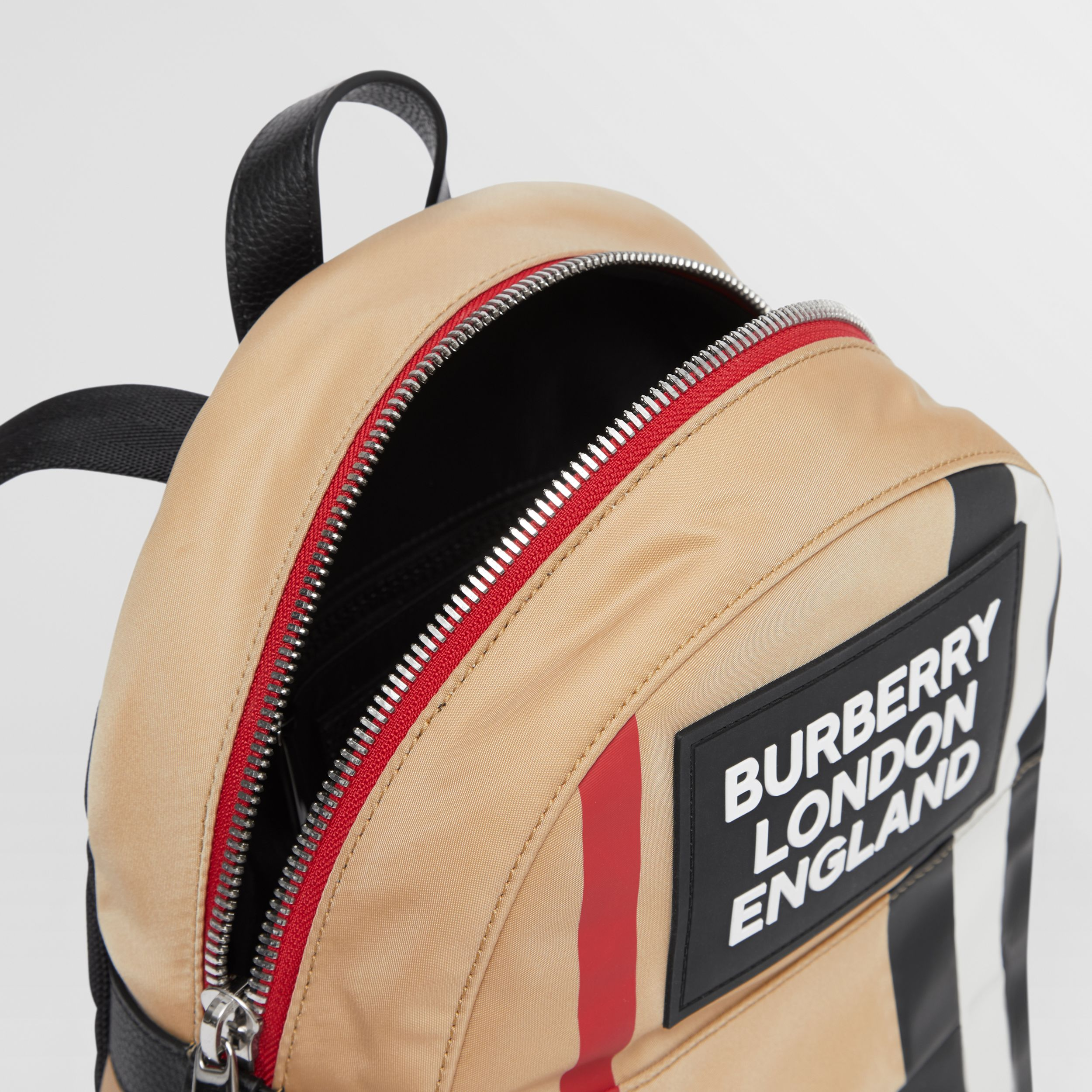 Logo Appliqué Icon Stripe ECONYL® Backpack in Archive Beige - Children | Burberry - 4