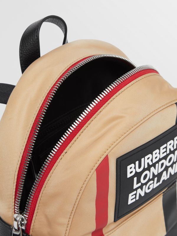 Logo Appliqué Icon Stripe ECONYL® Backpack in Archive Beige - Children | Burberry United Kingdom - cell image 3