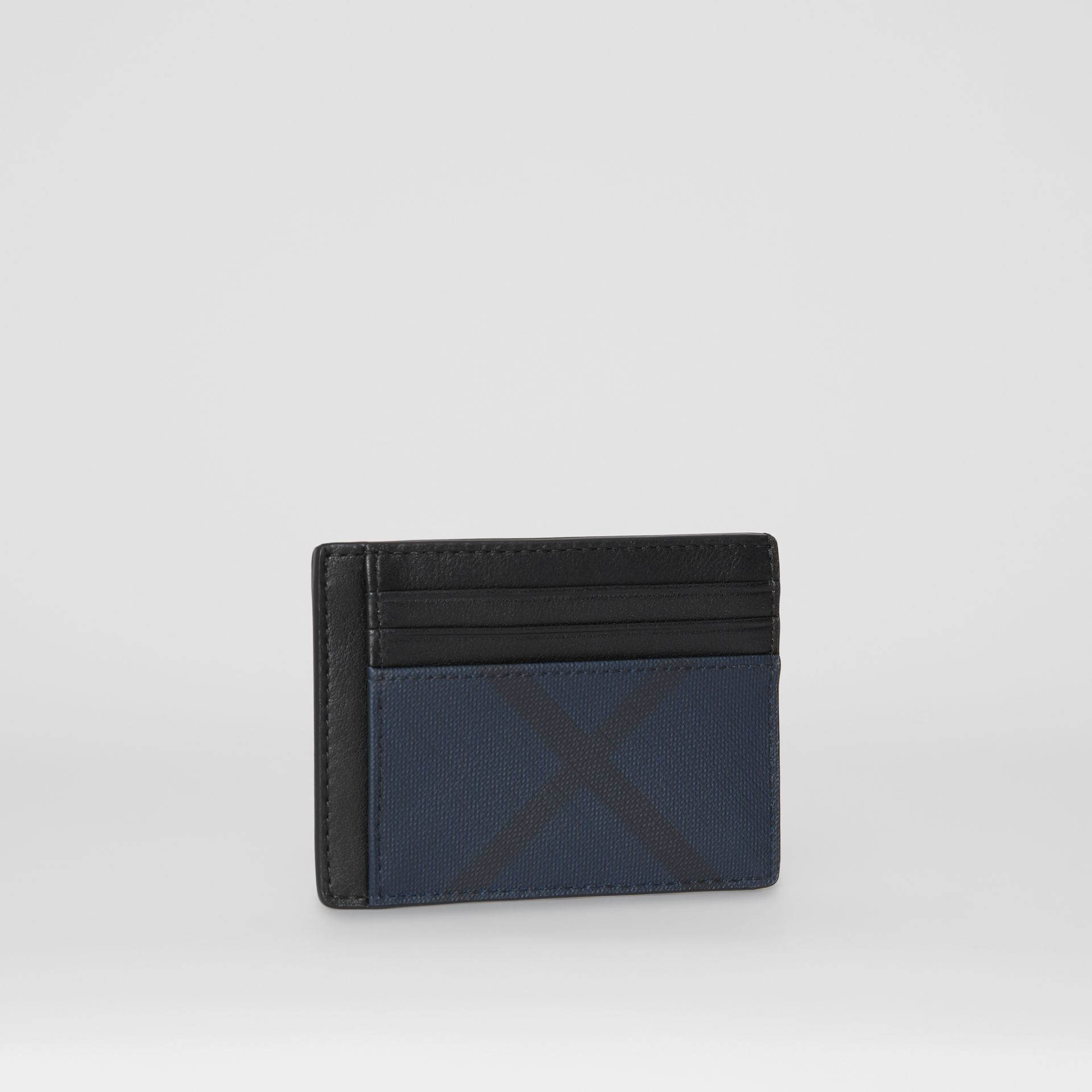 London Check and Leather Card Case in Navy/black - Men | Burberry - gallery image 3
