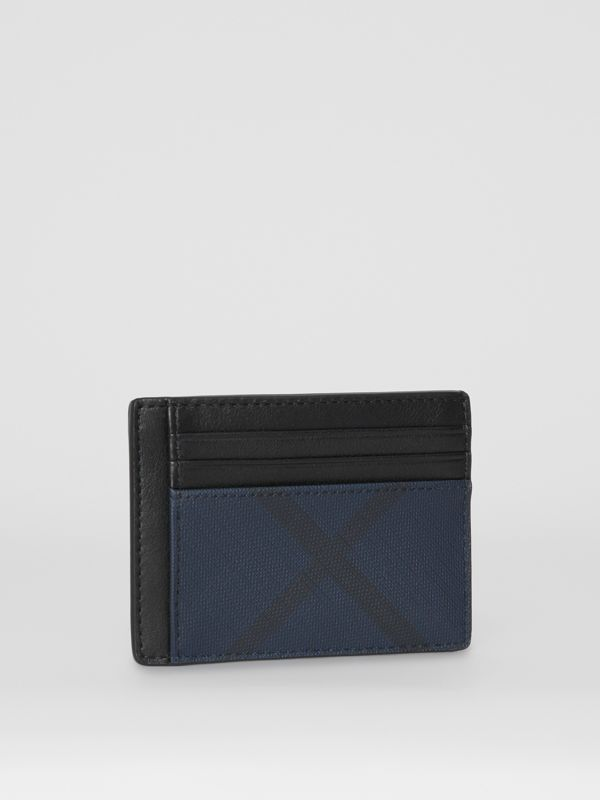 London Check and Leather Card Case in Navy/black - Men | Burberry - cell image 3