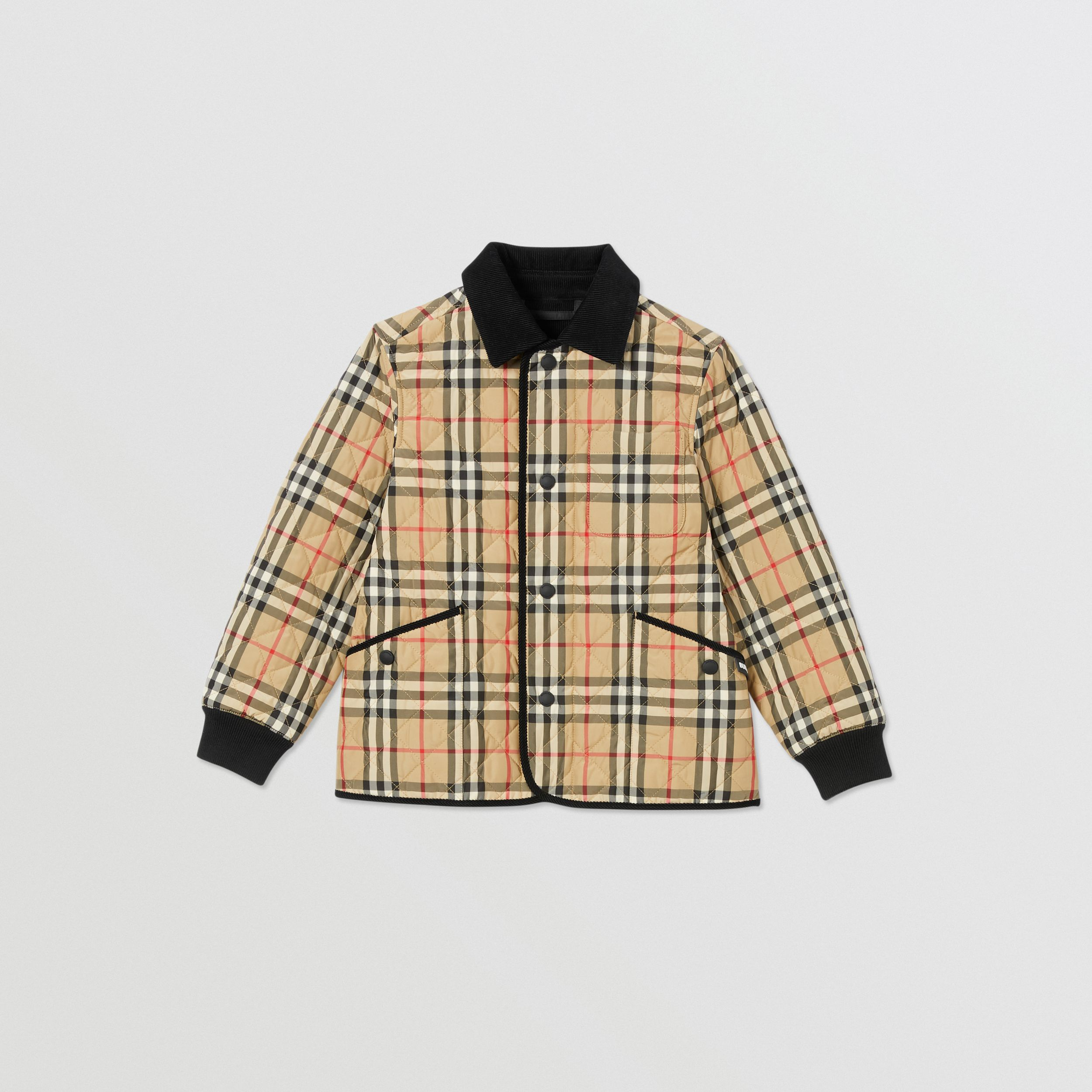 Corduroy Trim Vintage Check Diamond Quilted Jacket in Archive Beige | Burberry - 1