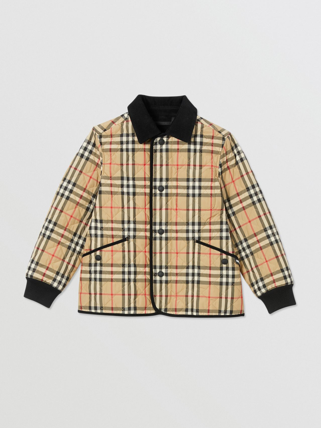 Corduroy Trim Vintage Check Diamond Quilted Jacket (Archive Beige)