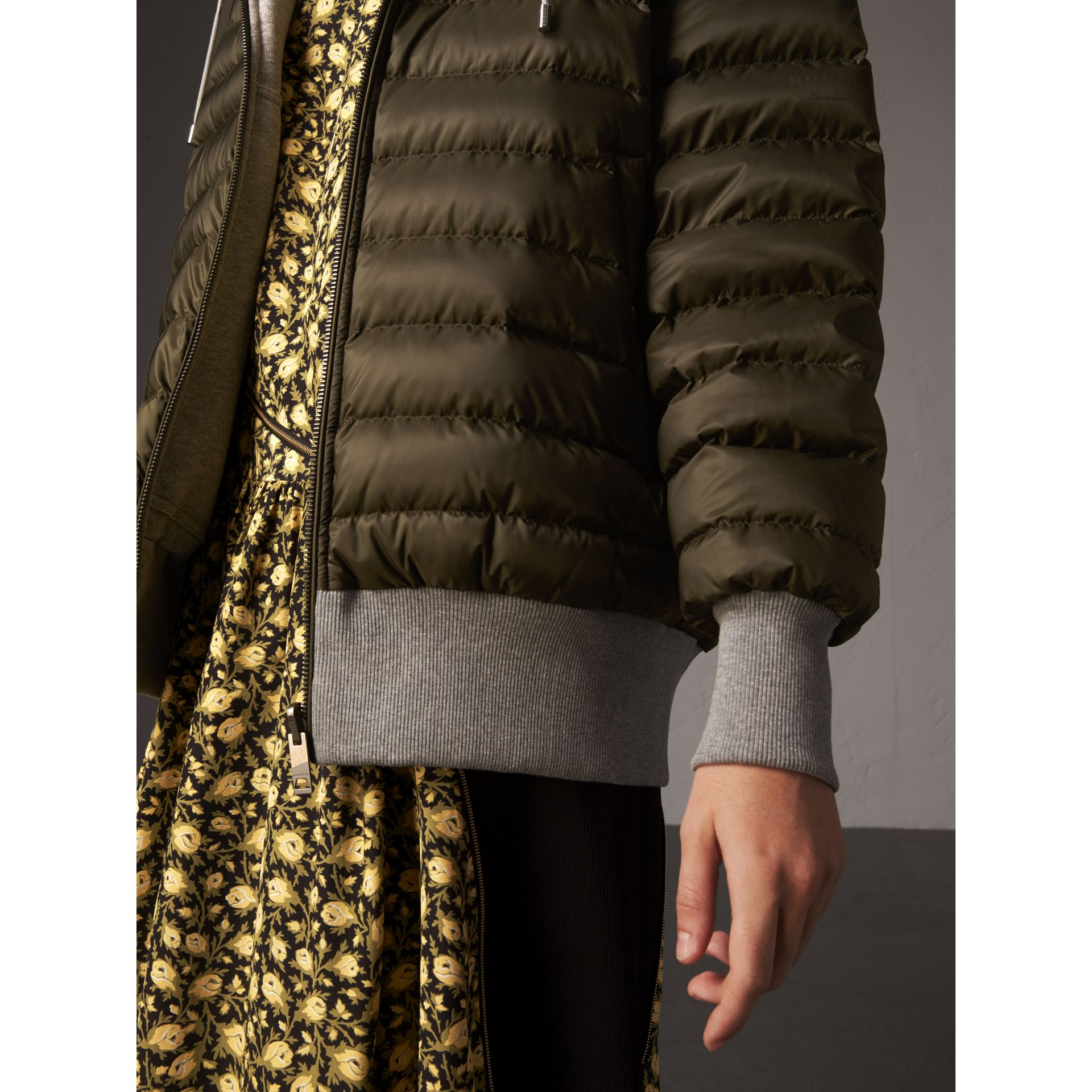 Reversible Down-filled Hooded Bomber Jacket in Olive - Women | Burberry - gallery image 5