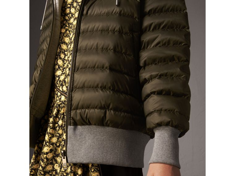 Reversible Down-filled Hooded Bomber Jacket in Olive - Women | Burberry Singapore - cell image 4