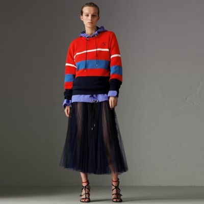 BURBERRY Logo-Embroidered Striped Wool Sweater, Red