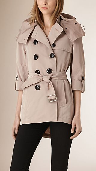 Showerproof Trench Coat with Detachable Hood