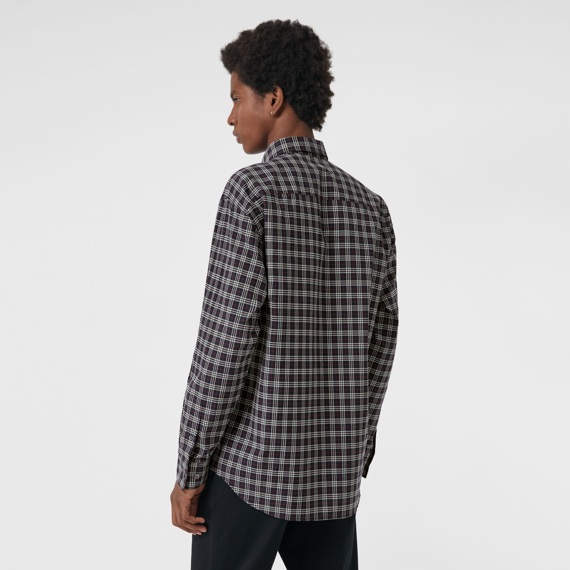 Small Scale Check Cotton Shirt in Navy - Men | Burberry - gallery image 2