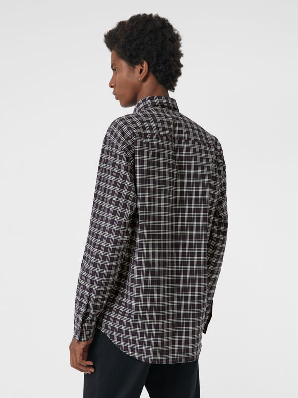 Small Scale Check Cotton Shirt in Navy - Men | Burberry Canada - cell image 2