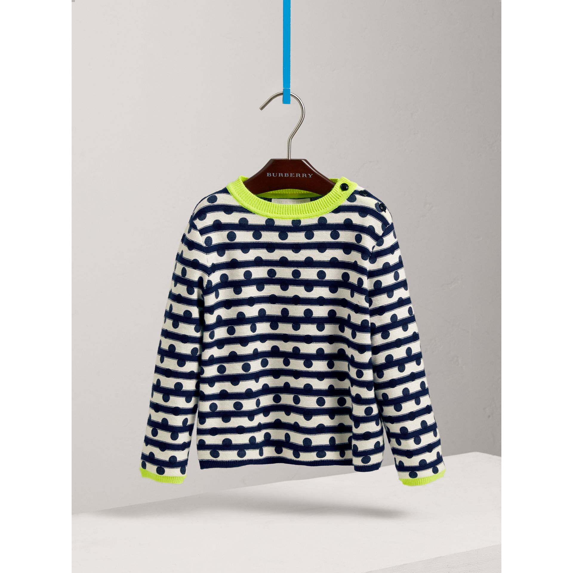 Dot Print Striped Cotton Cashmere Sweater in Navy - Children | Burberry - gallery image 0