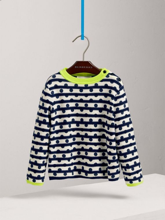 Dot Print Striped Cotton Cashmere Sweater in Navy