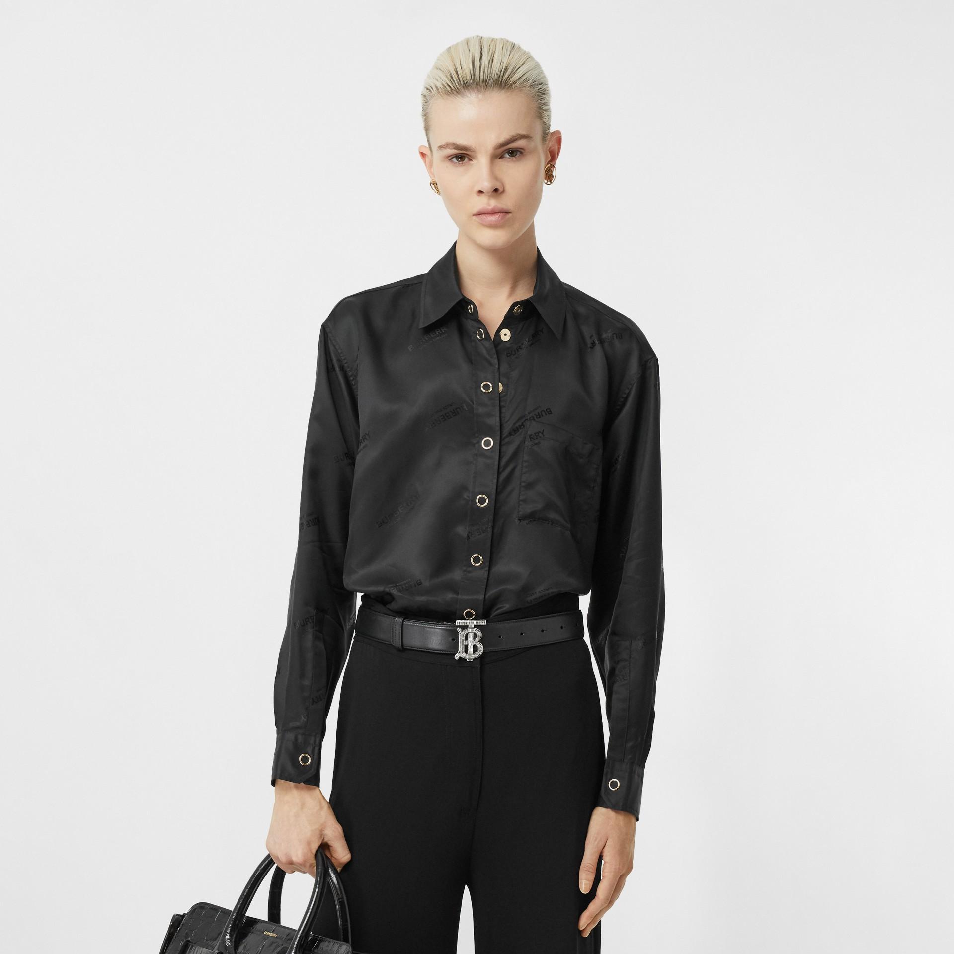 Logo Jacquard Shirt in Black - Women | Burberry United Kingdom - gallery image 4
