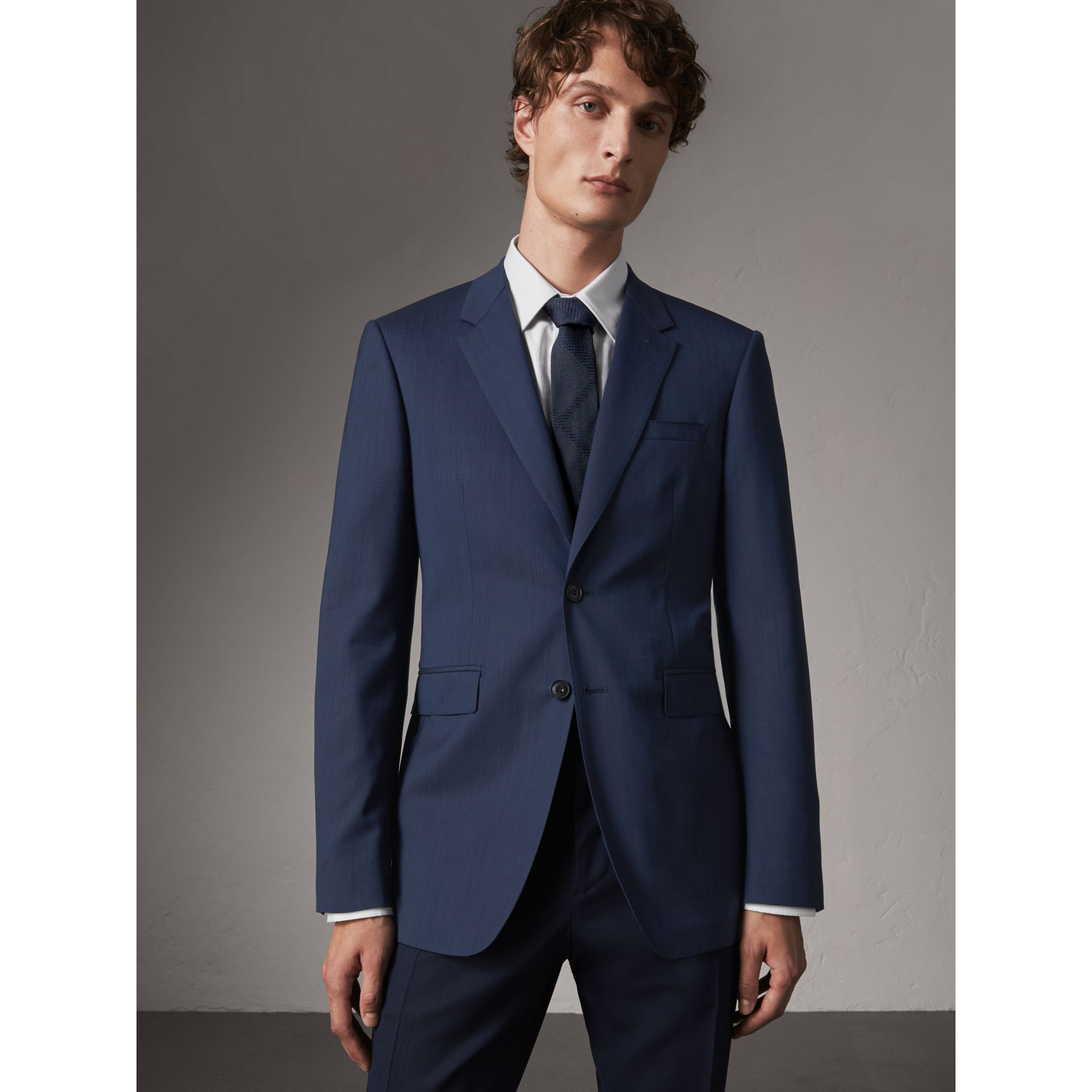 Modern Fit Stretch Wool Suit in Navy - Men | Burberry - gallery image 8