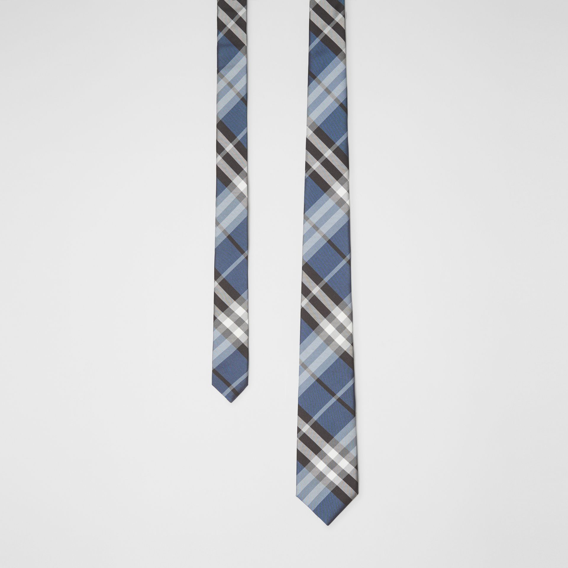 Modern Cut Vintage Check Silk Tie in Steel Blue - Men | Burberry - gallery image 0