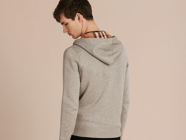Hooded Cotton Jersey Top in Pale Grey Melange - Men | Burberry Australia - cell image 1