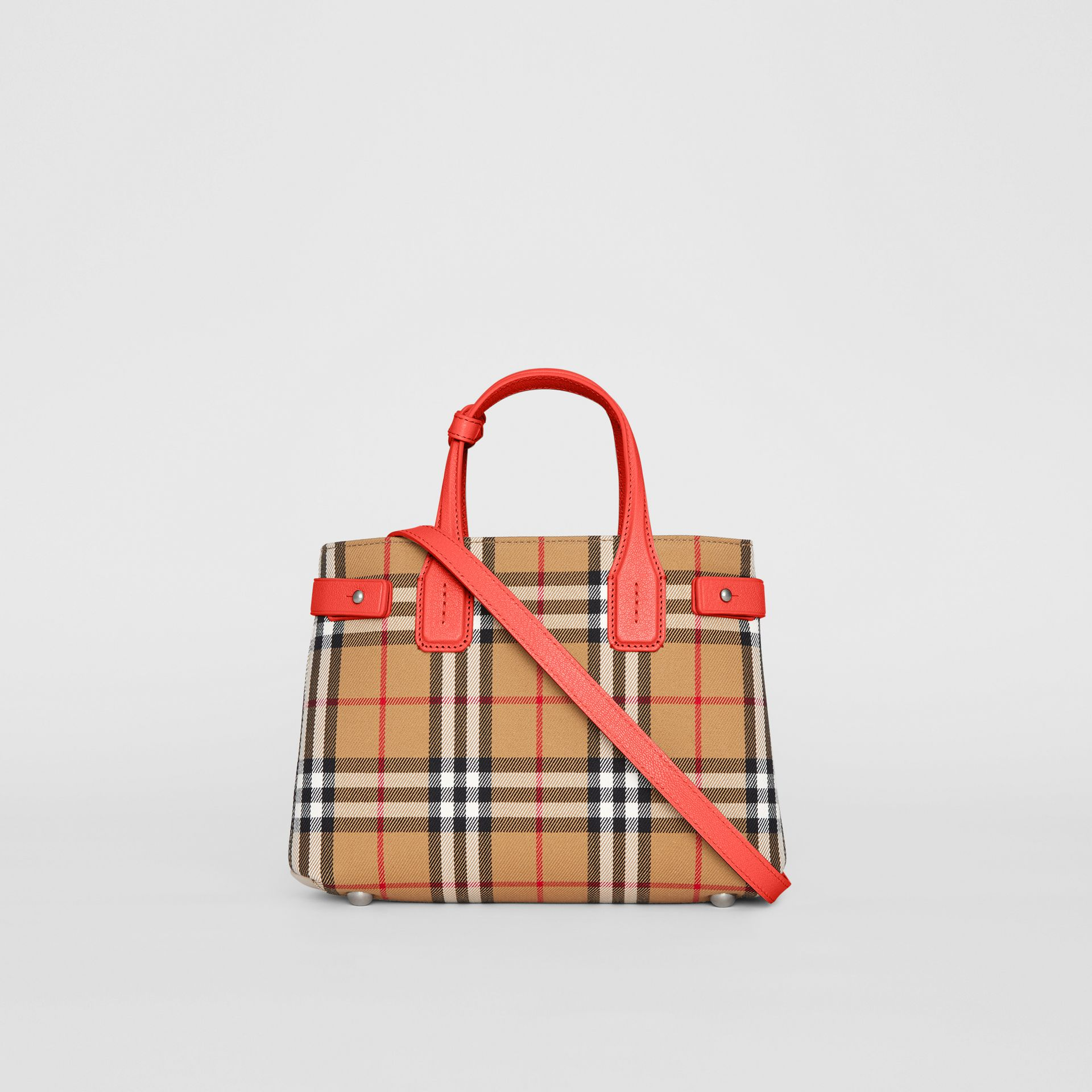 The Small Banner in Vintage Check and Leather in Bright Red - Women | Burberry - gallery image 7
