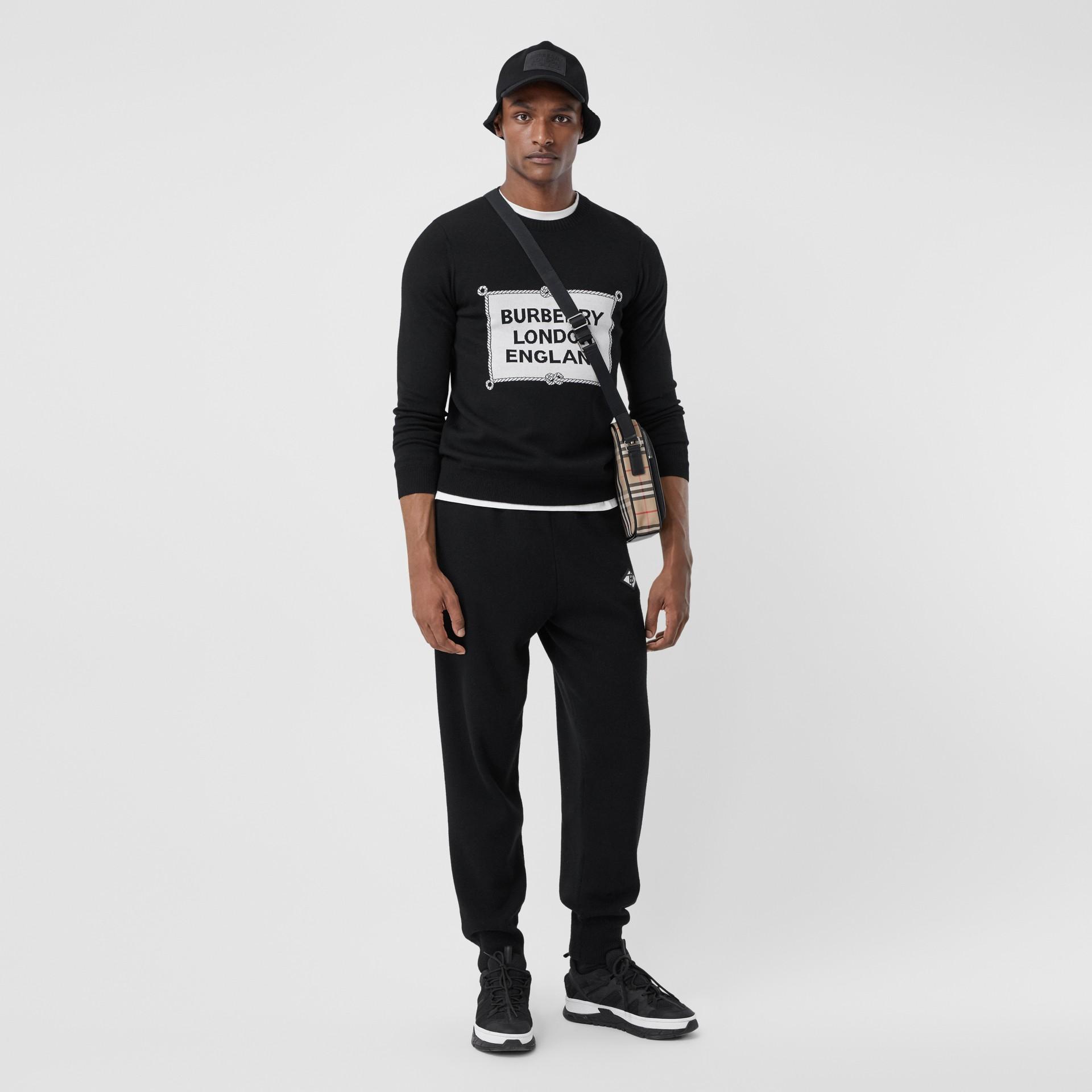 Rigging Intarsia Merino Wool Sweater in Black - Men | Burberry - gallery image 0