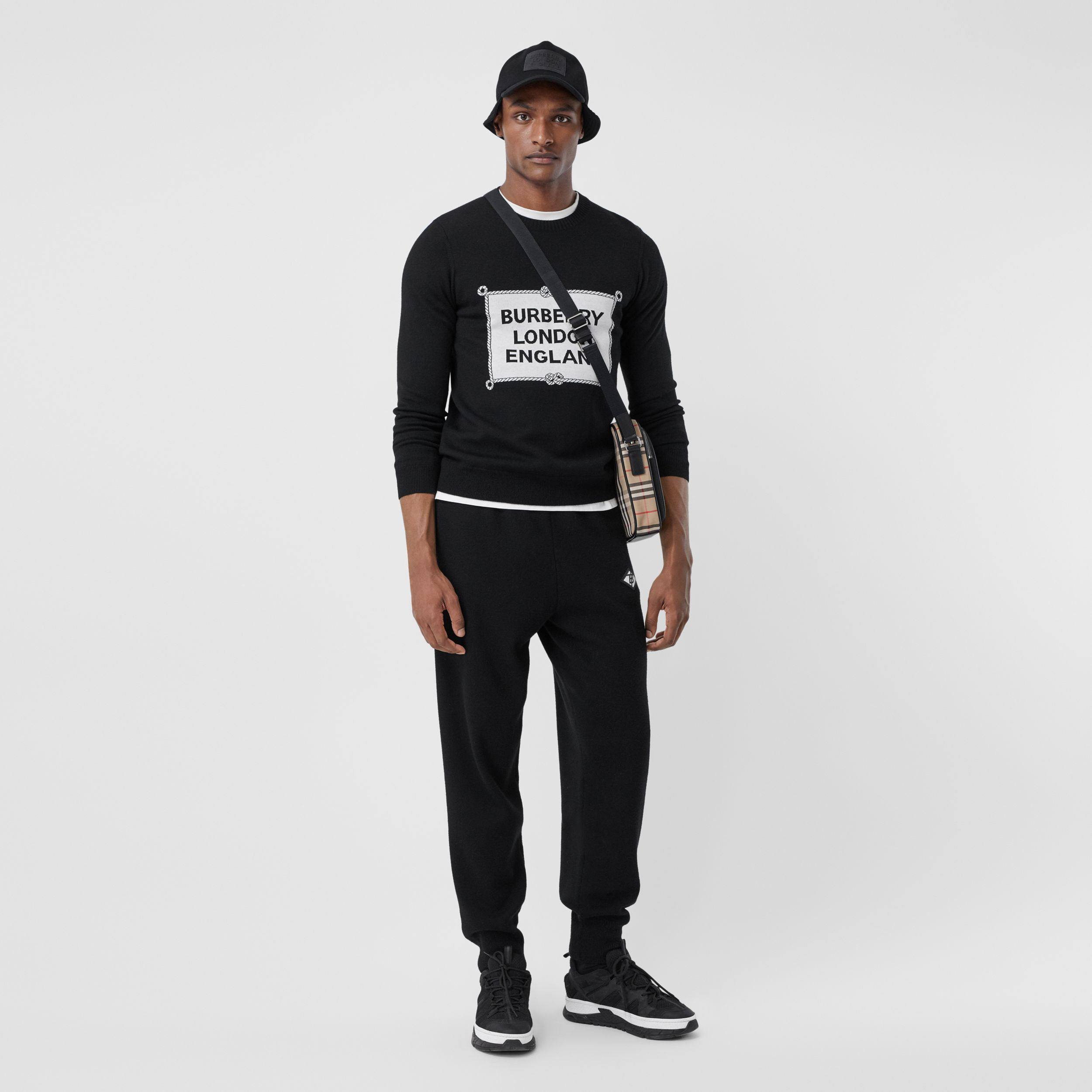 Rigging Intarsia Merino Wool Sweater in Black - Men | Burberry Australia - 1