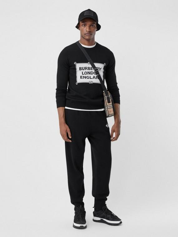 Rigging Intarsia Merino Wool Sweater in Black