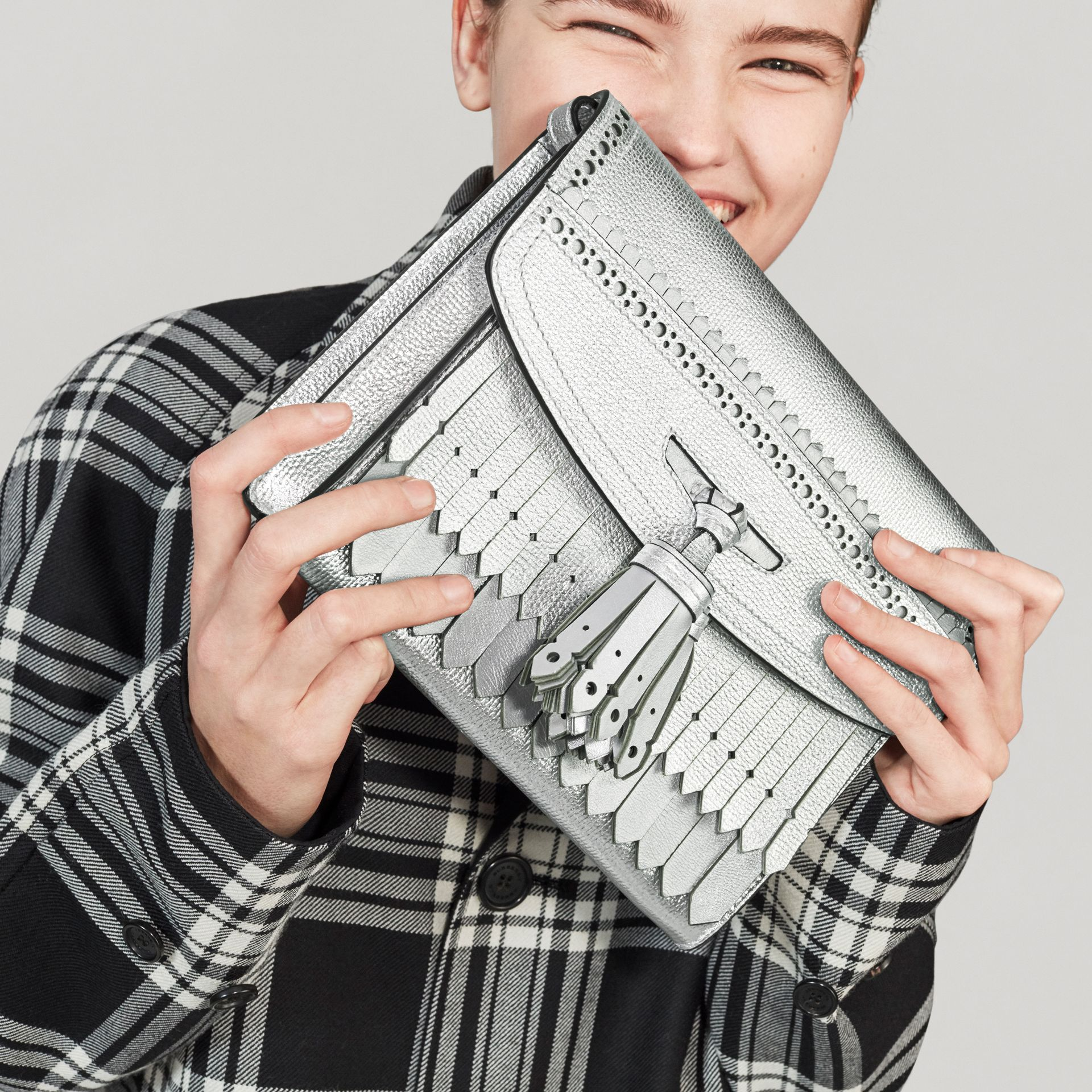 Brogue Detail Metallic Leather Crossbody Bag in Silver - Women | Burberry Canada - gallery image 4