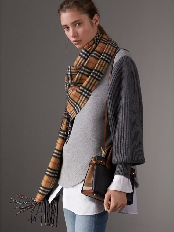 The Baby Banner House 格紋皮革包 (黑色/棕褐色) - 女款 | Burberry - cell image 3