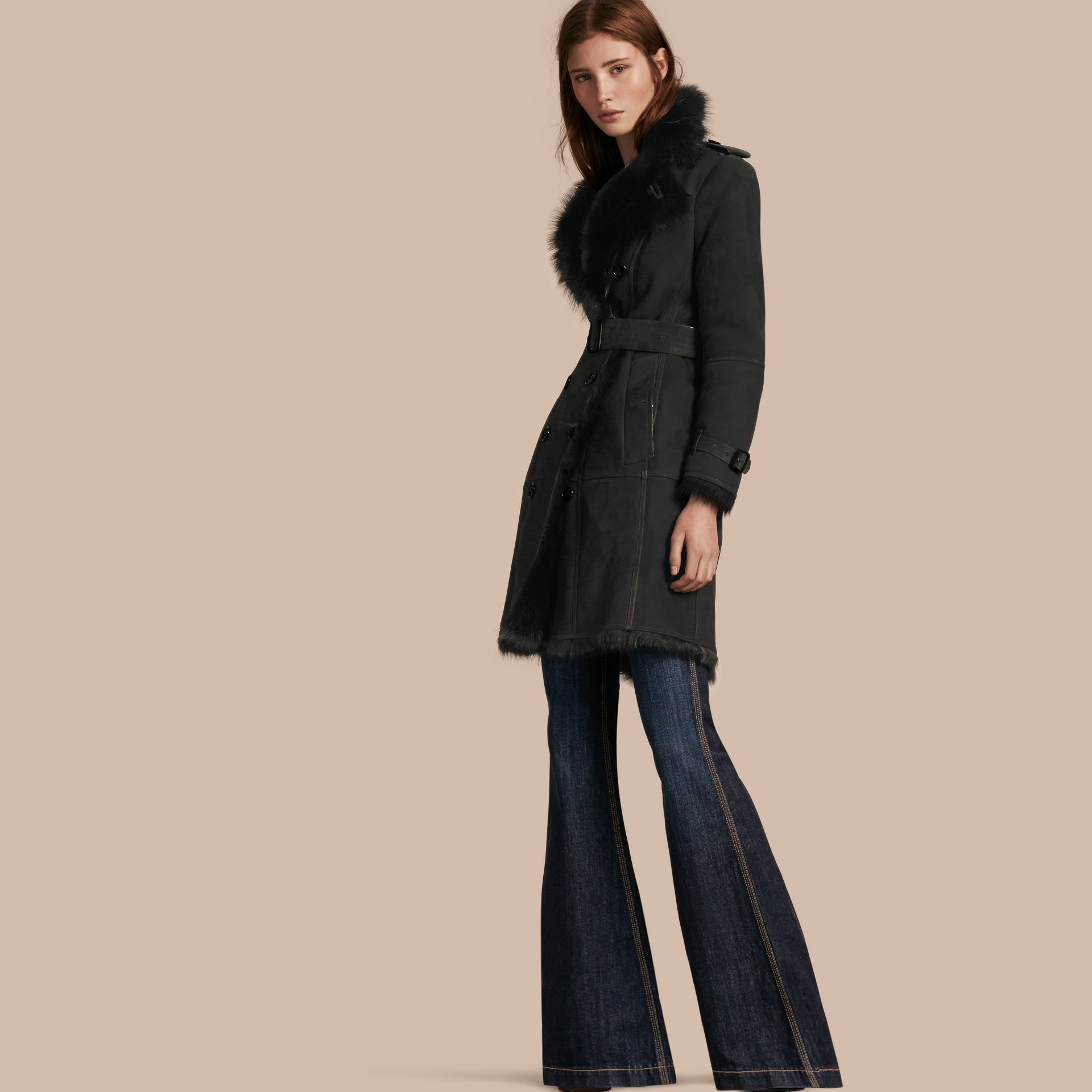 Black Shearling Trench Coat Black - gallery image 1