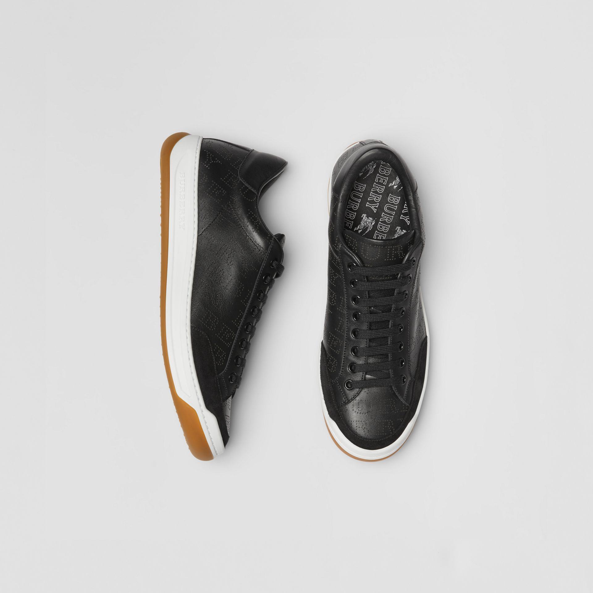 Logo Print Leather Sneakers in Black - Men | Burberry United Kingdom - gallery image 0