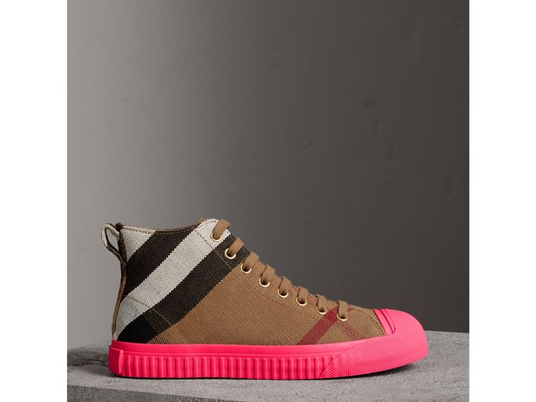 Canvas Check and Leather High-top Sneakers in Classic - Women | Burberry United Kingdom - cell image 4