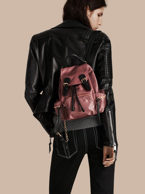 The Small Rucksack in Technical Nylon and Leather Mauve Pink - cell image 2