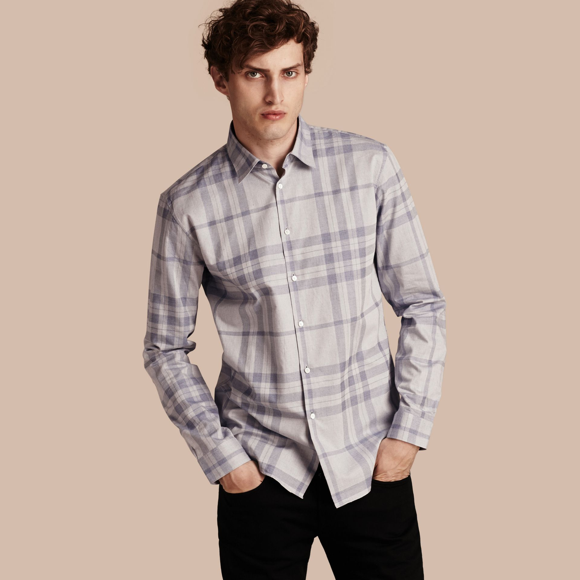 Dusty blue Check Cotton Flannel Shirt Dusty Blue - gallery image 1