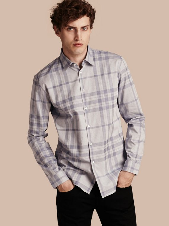 Check Cotton Flannel Shirt Dusty Blue