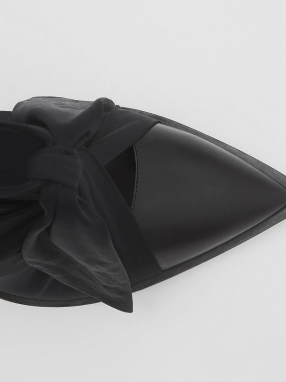 Scarf Tie Detail Leather Point-toe Mules in Black | Burberry - cell image 1