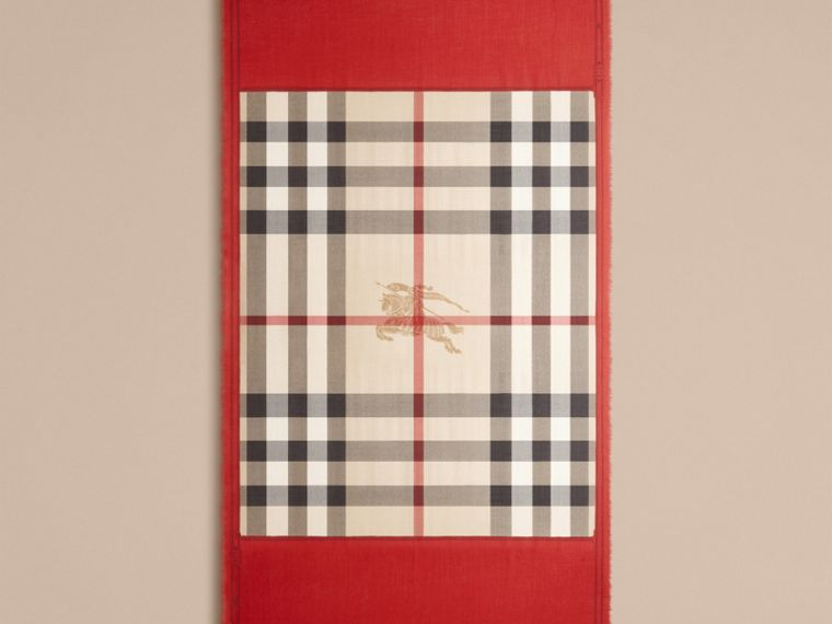 Contrast Border Horseferry Check Cashmere Scarf in Parade Red - Women | Burberry - cell image 2