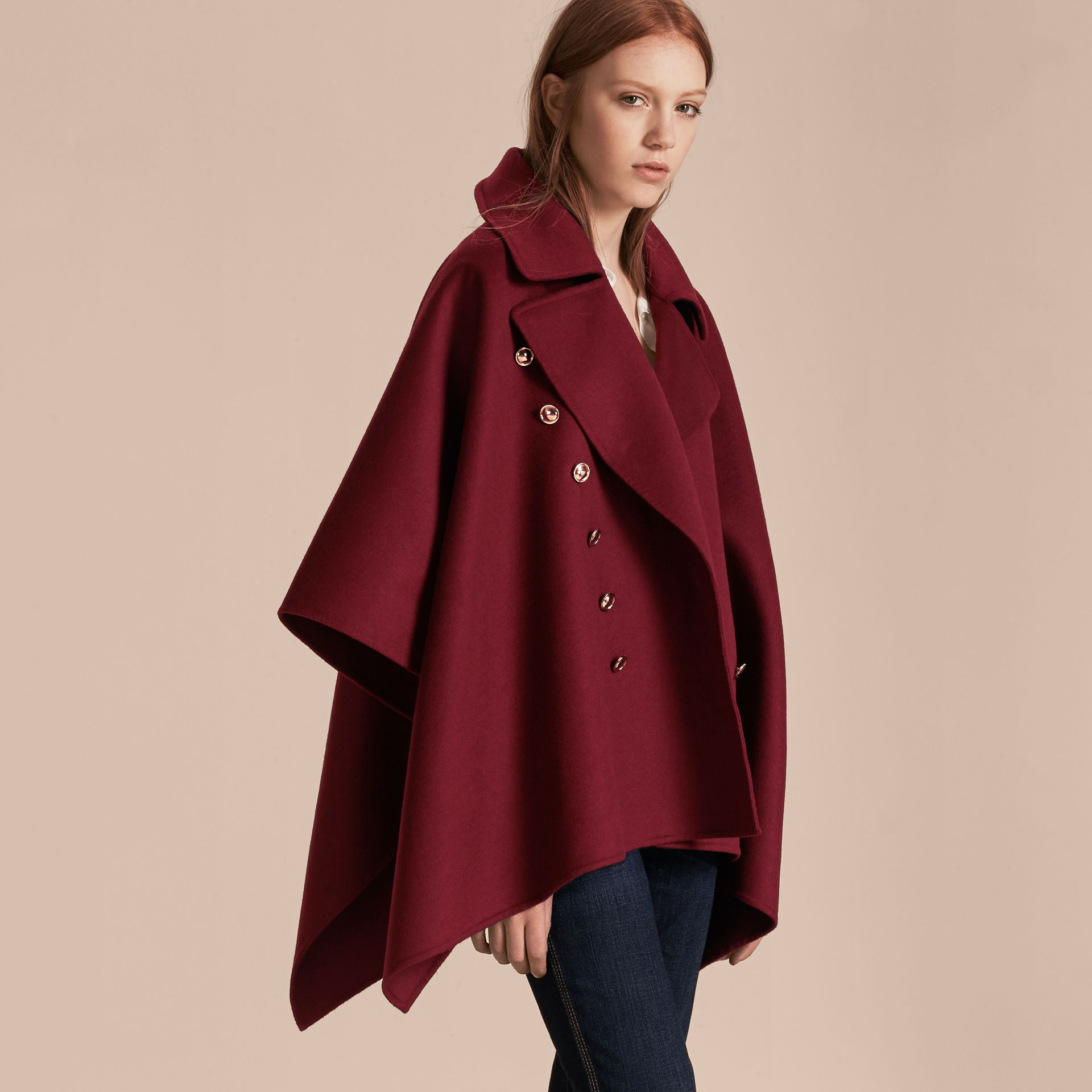 Burgundy Military Button Wool Cashmere Blend Cape Burgundy - gallery image 6