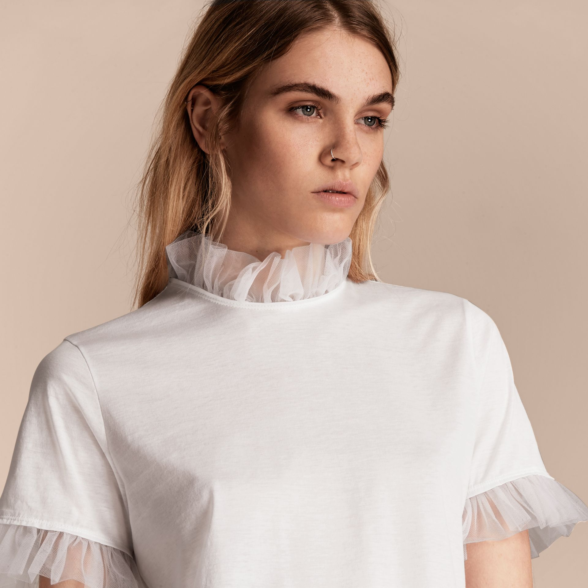 White Cotton T-shirt with Tulle Ruffles - gallery image 5