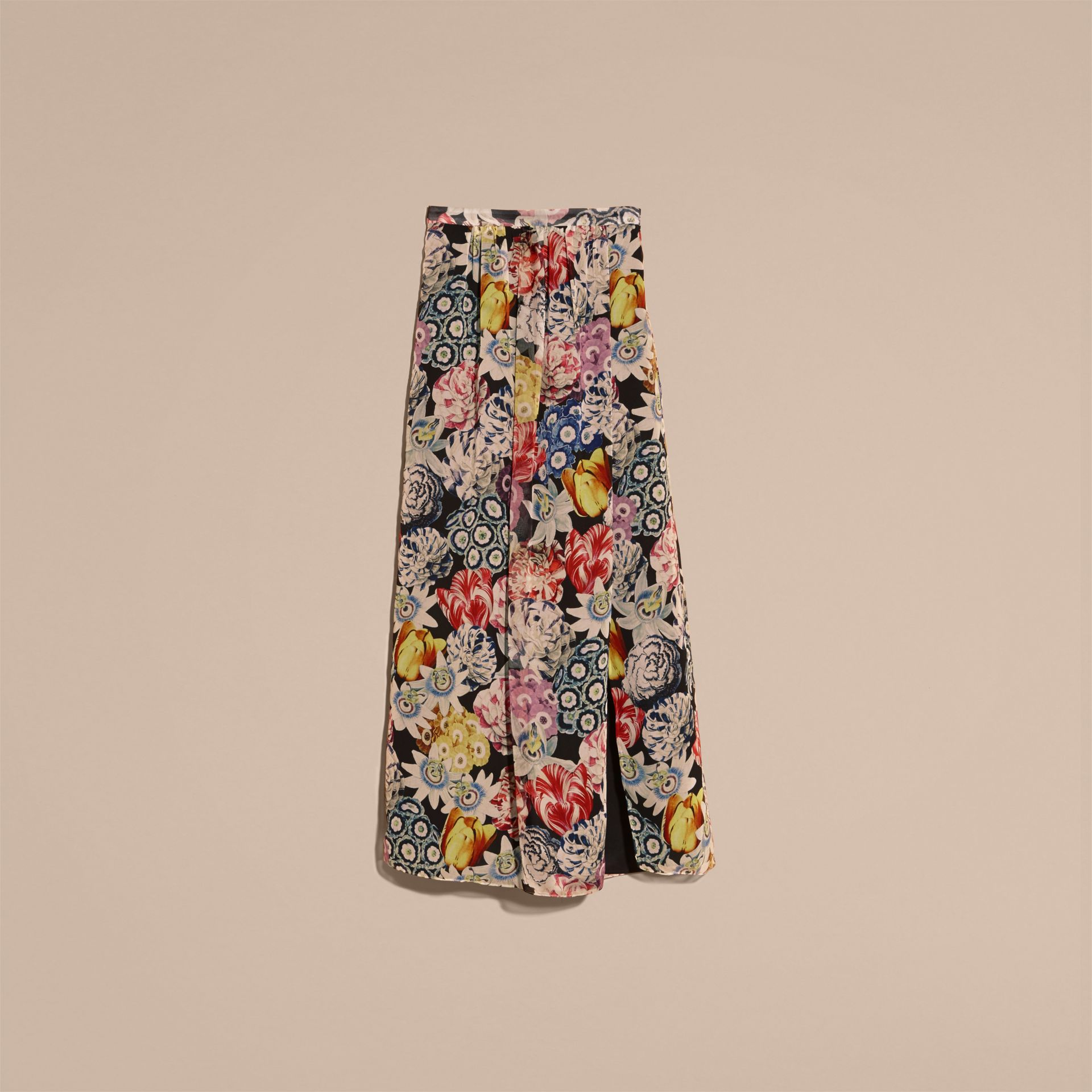 Black Floor-length Floral Print Silk Skirt - gallery image 4