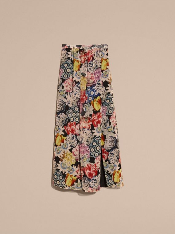 Black Floor-length Floral Print Silk Skirt - cell image 3
